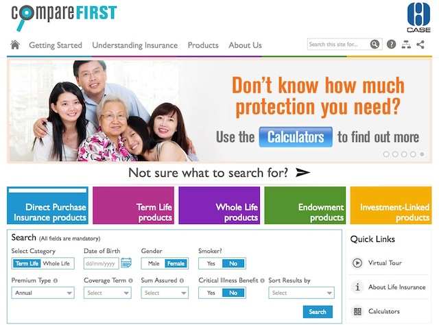 Comparing life insurance products online