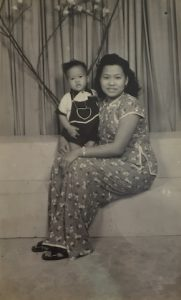 James with his mother.