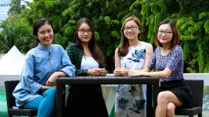 The Savvy Silvers team (from left to right) – left to right: Sai Fengjia (24), Jaime Goh (23), Isadora Ong (23), Elissa Teo (23).