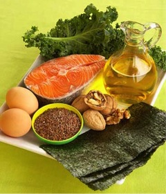 Foods rich in Omega-3 and Omega-6 fatty acids such as salmon, chia seeds, flaxseed oil, eggs and walnuts.