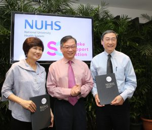 Witnessed by Minister Gan Kim Yong, Minister for Health, Mrs Teo Poh-Yim, Founder and Chairman of S3, and Professor John EL Wong, Chief Executive, National University Health System, sign a Memorandum of Understanding (MoU) to leverage on the partnership between both organisations to increase awareness on stroke and advance advocacy to enable an inclusive society.