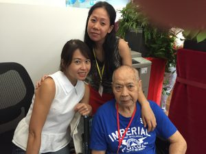 Mak Weng Choy with his daughter Stella and his helper.