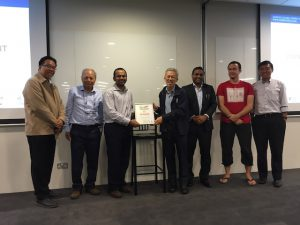 Abhishek Agrawal, founder of Kinexcs, with the judges of Aging 2.0 Singapore.