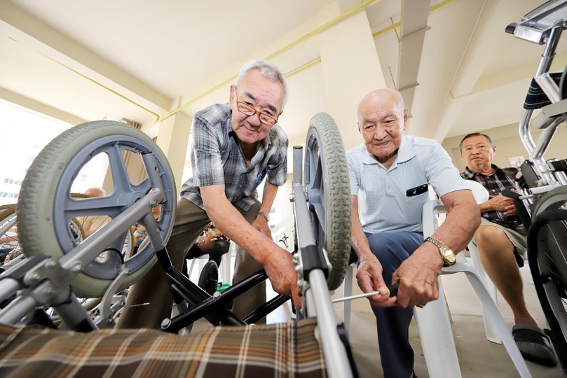 Wheelchair servicing by seniors for seniors
