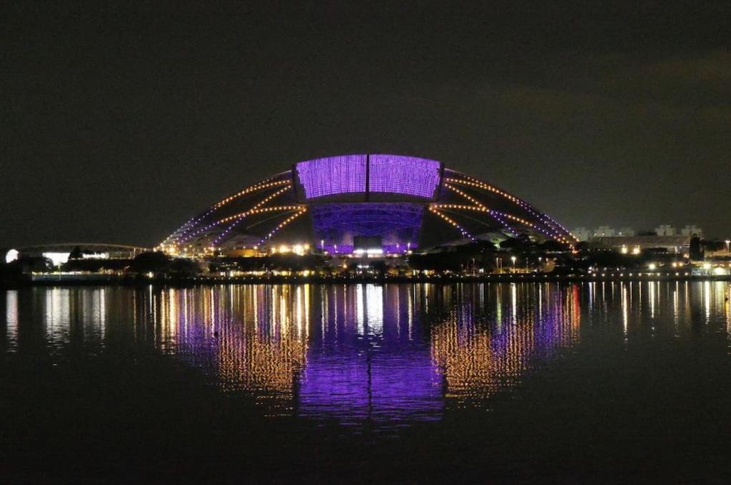 National Stadium lights up